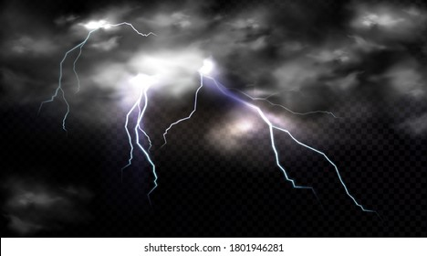 Lightning strikes and thundercloud, electric discharge and storm cloud, impact place or magical energy flash. Meteorology thunderbolt realistic 3d vector impulse isolated on transparent background