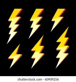 Lightning symbols. Vector.