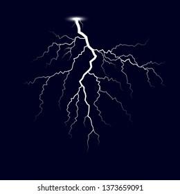 Lightning. Thunder storm lightnings. Vector Illustration isolated on dark background