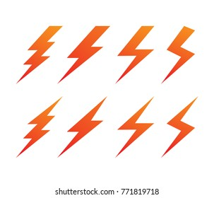 lightning thunderbolt electricity vector logo design set