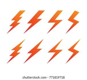 lightning thunderbolt electricity vector logo design set