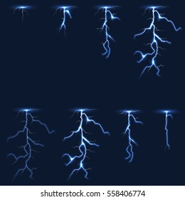 Lightning, thunderbolt fx animation frames sprite vector illustration. Electricity thunderbolt danger, light electric powerful thunder bolt.