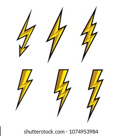 Lightning thunderbolt icon vector.Flash symbol illustration.Lighting Flash Icons Set. Flat Style on white background and black outline.Silhouette and lightning bolt icon. Set of yellow icons storm.
