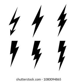 Lightning thunderbolt icon vector.Flash symbol illustration.Lighting Flash Set. Flat Style on  white background.Black silhouette and lightning bolt icon.Instant icon