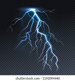 Lightning or thunderbolt light vector illustration. Isolated realistic sky thunderstorm electric spark flash on transparent background