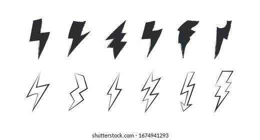 Lightning Vector Seamless Pattern. Repeat background with hand-drawn doodle of lightning bolts, thunder bolts, energy bolt, warning symbol illustration. EPS 10.