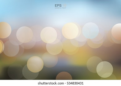 Lights blurred bokeh background. Vector illustration.