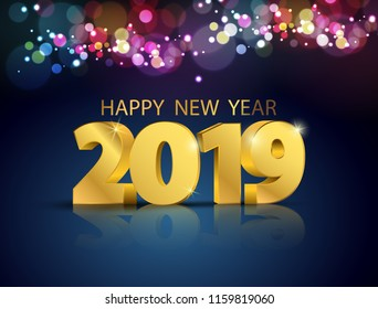 lights bokeh colorful background with party 2019. Happy New Year concept.