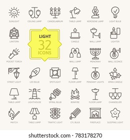 Lights, bulb- outline web icon set, vector, thin line icons collection