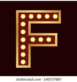 lights bulbs inside decorative letter f