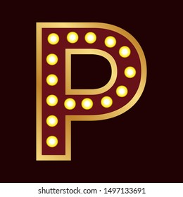 lights bulbs inside decorative letter p