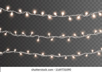 lights bulbs isolated on transparent background glowing golden christmas garlands string vector new year