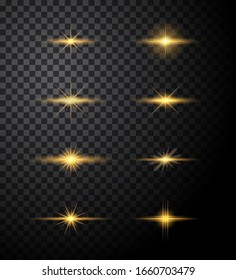 Lights burst and Sparkles star set Icons. Glow effect Vector
