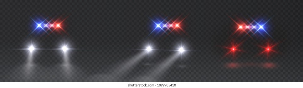 Lights flares and siren effect front view. Realistic white led glow car headlights isolated on transparent background. Vector bright special red blue police light beams at night for your design.