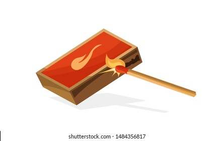 Lights a match on a matchbox illustration. Sparks and small fire. Vector illustration cartoon style isolated on white background.