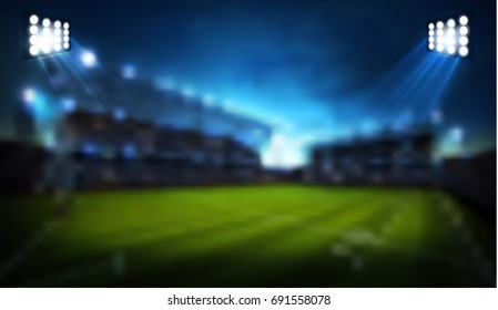 lights at night and stadium . Blur Sport background. vector