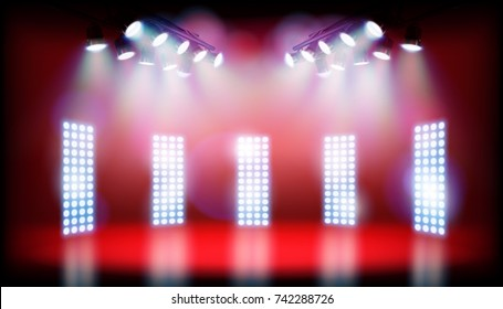 Lights on the stage before the show. Vector illustration.