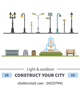 Lights and outdoor elements: bench, fountain, urn. Set of elements for construction of urban and village landscapes. Vector flat illustration