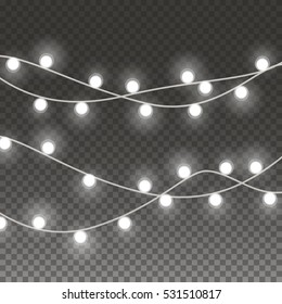 Lights string bulbs isolated on transparent background. Glowing white Christmas garlands string lamps for Xmas Holiday greeting card design.  New Year party lights decorations. Vector illustration.