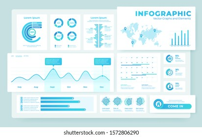 Lightweight, airy modern design of dashboard infographic elements. Big data visualization. Example of pie, bar graphs, social indicators, data on a world map.
