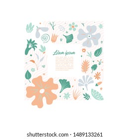 lightweight design template for your greeting cards and covers with stylized floral doodles forming squared frame