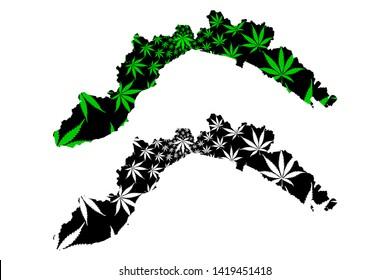Liguria (Autonomous region of Italy, Italian Republic) map is designed cannabis leaf green and black, Liguria map made of marijuana (marihuana,THC) foliage,