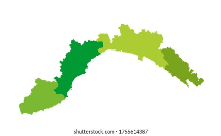 Liguria vector map silhouette vector illustration isolated on background. province in Italy. Liguria province with separated regions.