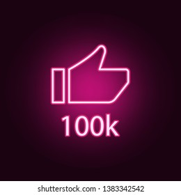 like 100k neon icon. Elements of online and web set. Simple icon for websites, web design, mobile app, info graphics
