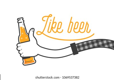 Like beer vector illustration and typography design. Hand holding a glass of beer in plaid shirt. Facebook like with beer bottle, social media. Drink beer in a pub on summer days. Clean flat design