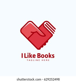 I Like Books Abstract Vector Sign, Emblem or Logo Template. Hand Holding a Book in a Heart Shape. Isolated.