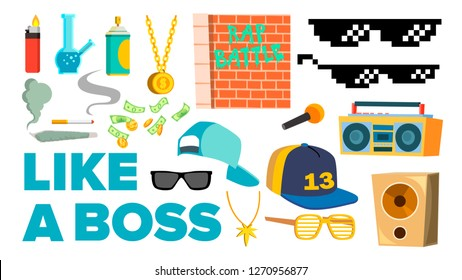Like A Boss Icons Vector. Rapper, Gangster, Cool Singer. Isolated Flat Cartoon Illustration