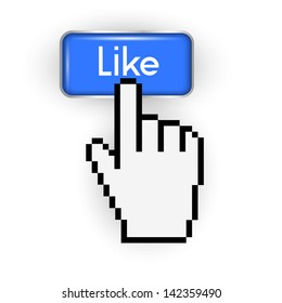 Like button and hand cursor. Vector EPS10