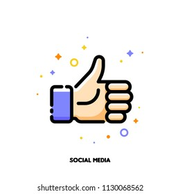 A like button for social networking services, internet forums, news websites and blogs. Icon with thumbs up. Flat filled outline style. Pixel perfect 64x64. Editable stroke