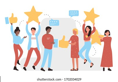 I like it character concept flat vector illustration. Social media background, successful online business, feedback, web. Young smiling people holding symbols or icons for rating post in their hands