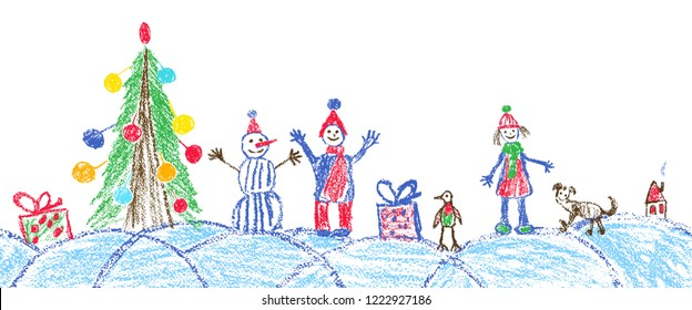 Like child hand drawing christmas space plaza. Crayon, pastel chalk or pencil hand drawing funny sketch doodle tree, ball, snowman, kid, boy, girl, gift box, snow, hut. Vector background area style.