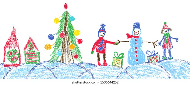 Like child hand drawing christmas space holiday border. Crayon, pastel chalk or pencil funny sketch doodle tree, house, ball, snowman, kid, boy, gift box, snow, hut. Vector background simple style