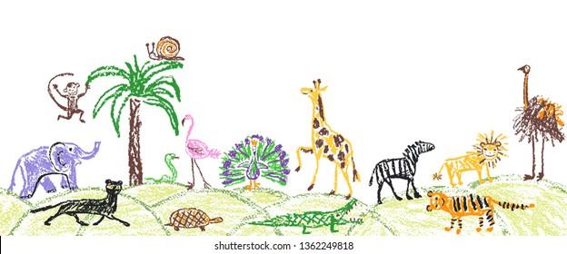 Like child hand drawn wild animals set. Kid`s crayon giraffe, elephant, lion, monkey, zebra, crocodile. Pastel chalk or pencil funny doodle style vector seamless border copy space safari background