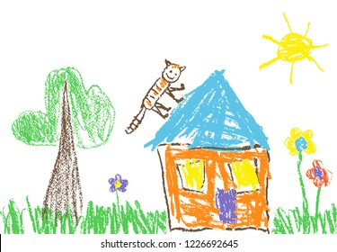 Like child`s hand drawn house, grass, tree, sun, colorful flowers and funny cat on roof. Like kid`s crayon, pastel chalk or pencil painting spring or summer doodle vector background garden banner.