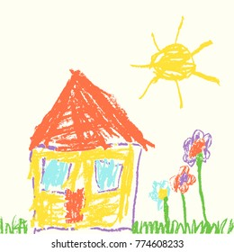 Like child`s hand drawn house. Wax crayon drawing grass, colorful flowers and sun. Pastel chalk or colorful pencil like kid`s style cute spring and summer meadow. Vector funny background banner.