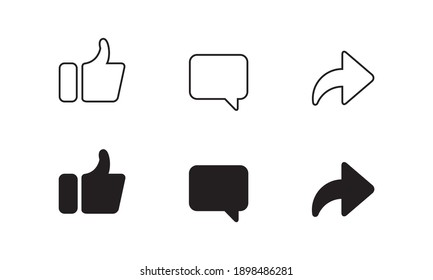 Like, Comment, and Share Button Vector. Icon Set of Channel