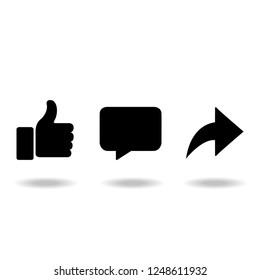 Like comment share icon set, Vector illustration.