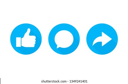 Like, comment and share icon set on a white background. Modern flat style vector illustration.