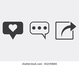 Like comment share icon set.Social network icons set.Vector illustration