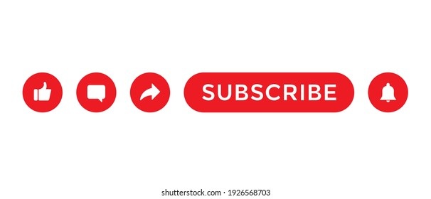 Like, Comment, Share and Subscribe. Button Icon Set for Channel Subscription