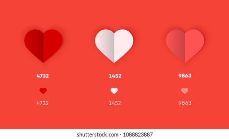 Like Concept. Flat And Paper Heart Icons. Tempalte For Social Media Design.
