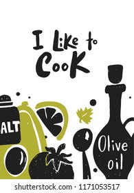 I like to cook. Hand lettering. Poster template. Poster, banner, flyer template. Design concept for cooking masterclass, food studio. Vector illustration of food.