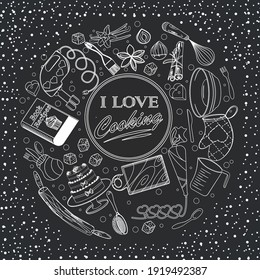 I like to cooking. Baking accessories. Book background concept. Baner with hand drawn kitchen utensils in chalk on black chalkboard EPS 10 editable.