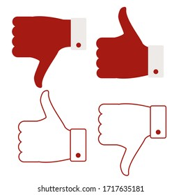 Like, dislike. 4 icon isolated on a white background. Thumbs up, thumbs down, social media icons