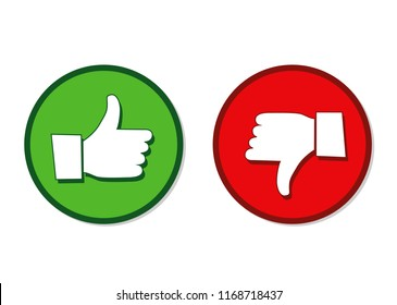 Like and dislike hands label green and red vector illustration EPS10