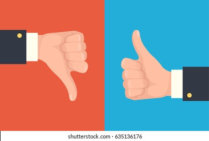 Like and dislike hands. Vector flat cartoon illustration